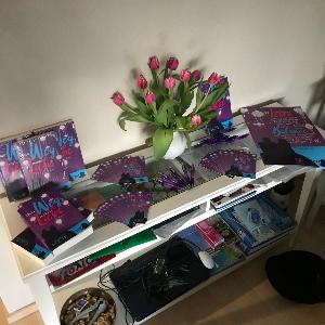 Hier sieht man ein Sideboard mit meinen Büchern, Postkarten, Lesezeichen, Kulis und Postern.